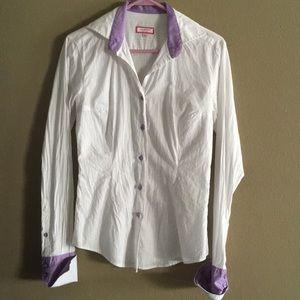 White button up blouse polka dots purple Medium